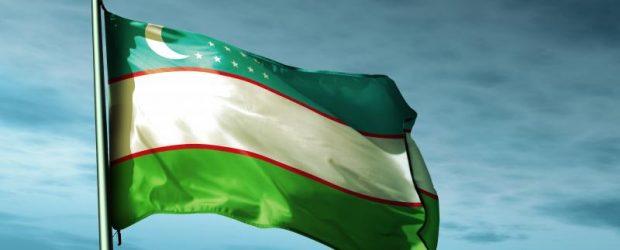 Узбекский флаг на ветру