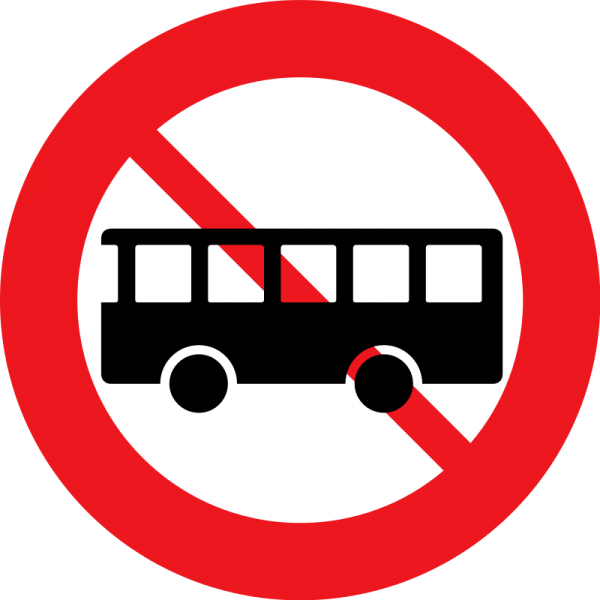 Автобус на фоне запрещающего знака