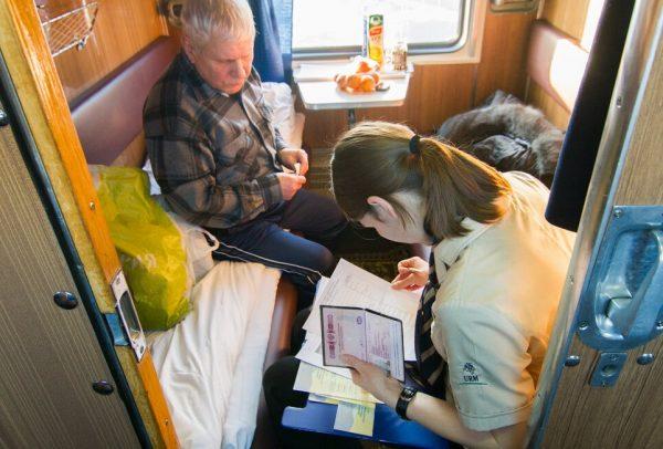 Проводник проверяет документы у пассажира