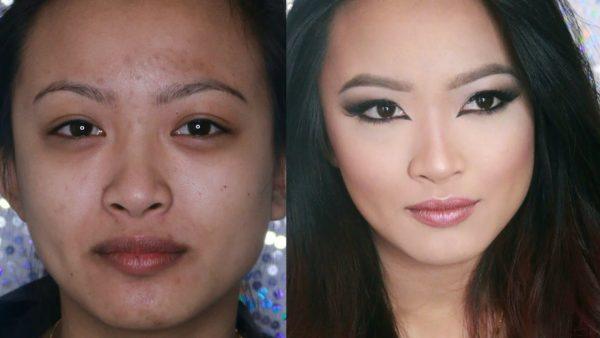 японский макияж до и после