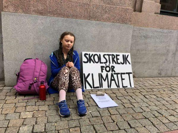 Грета Тунберг на митинге